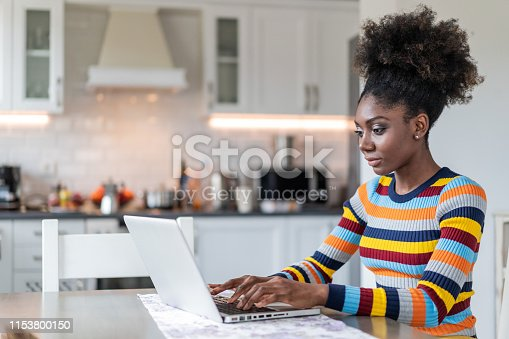 822557072 istock photo Afro Woman using laptop at home 1153800150