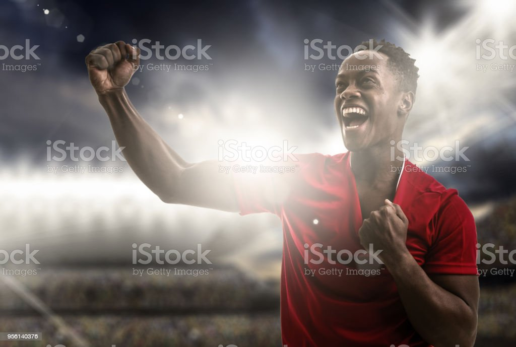 Afro young man fan celebrating in the stadium stock photo