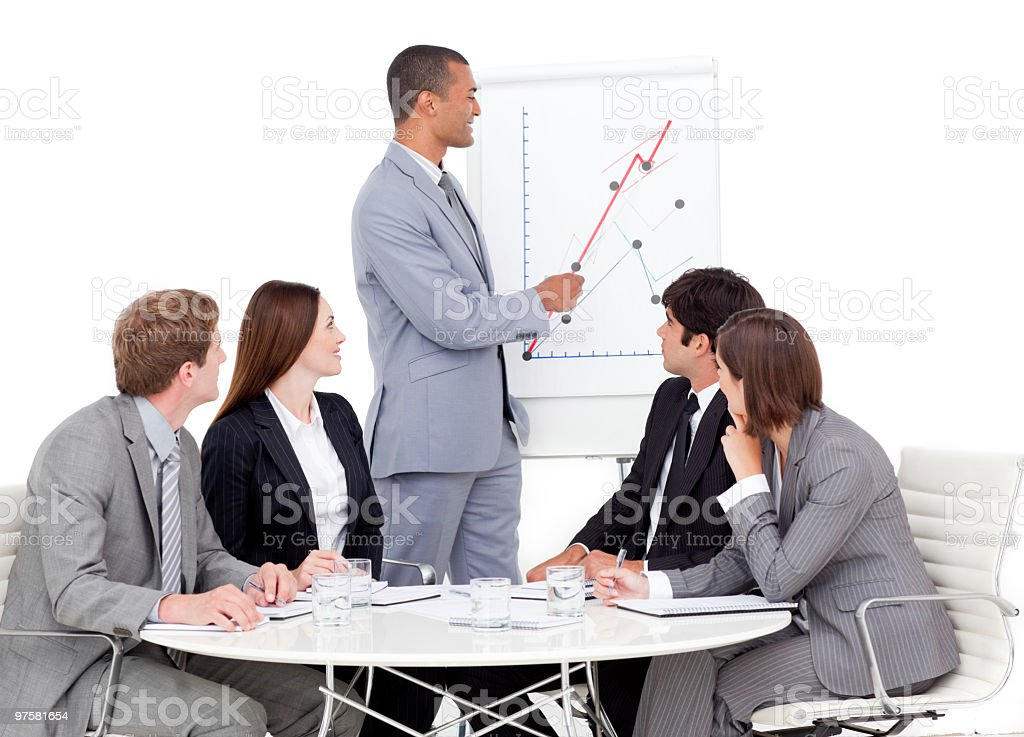 Afro-american businessman reporting sales figures royalty-free stock photo
