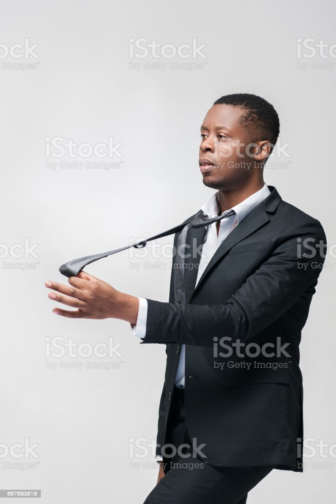 Afroamerican worker. Manipulating people problem. royalty-free stock photo