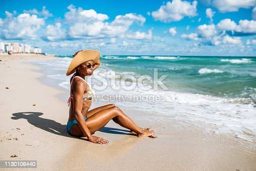Portrait of beautiful Hispanic woman in bikini at the beach