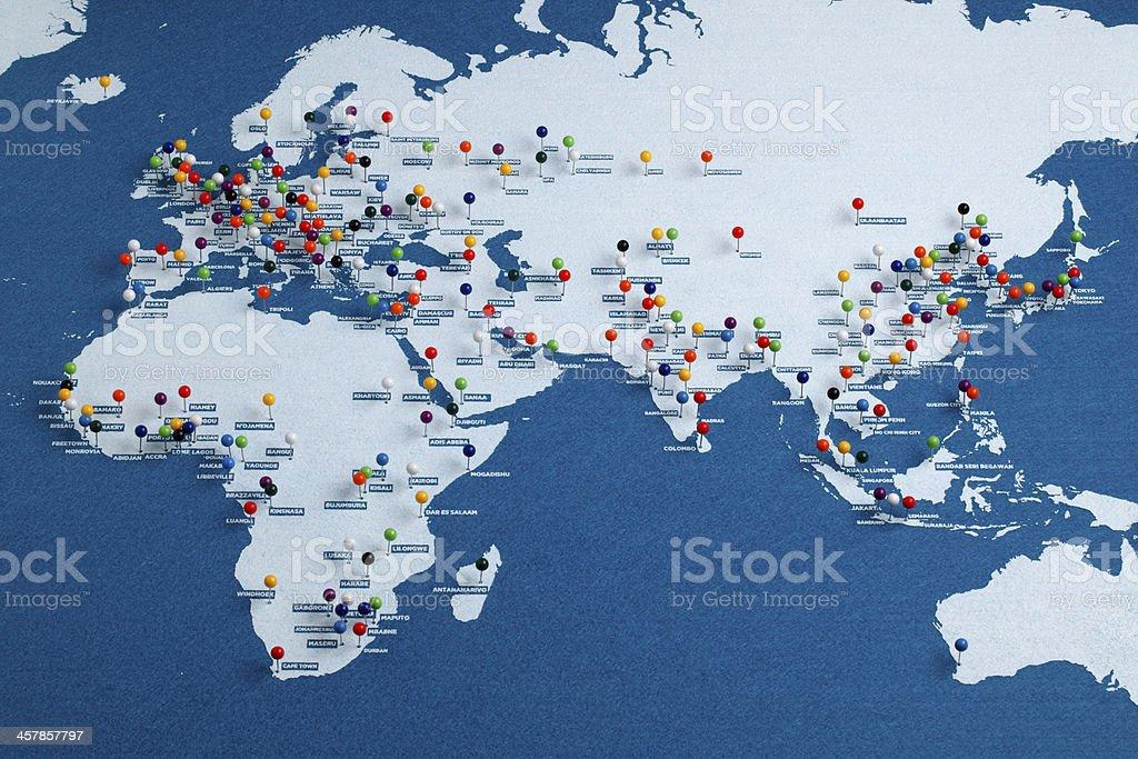 Afro-Eurasia Major Cities Map stock photo