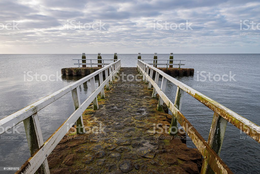 Afsluitdijk with Jetty Poles and Clouds foto