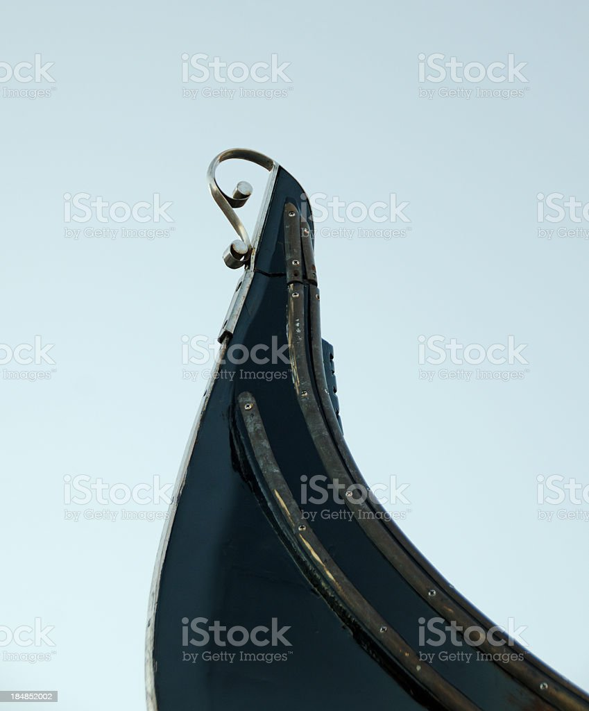 Aft of the Venetian Gondola stern stock photo