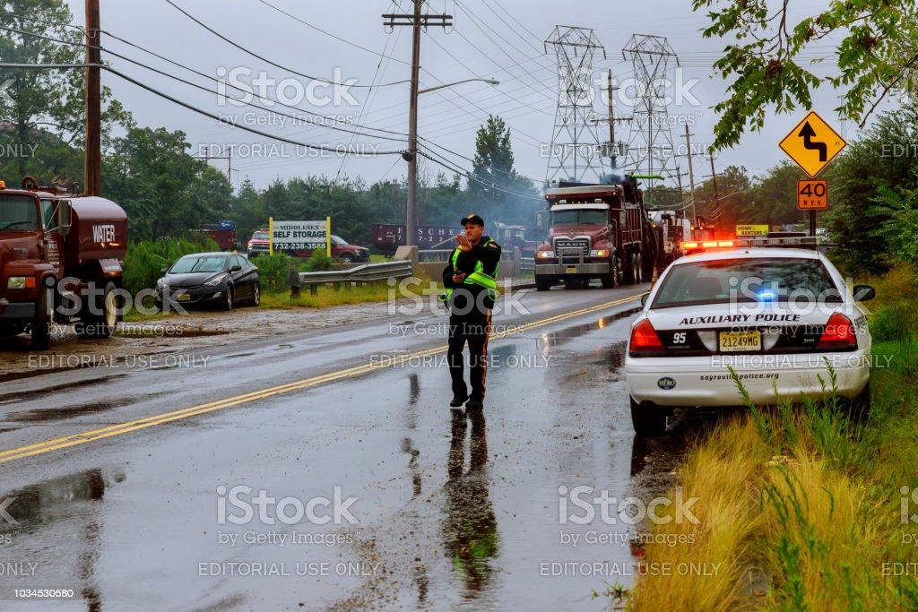 10 September 2018 Nj Usa A After An Accident Policeman
