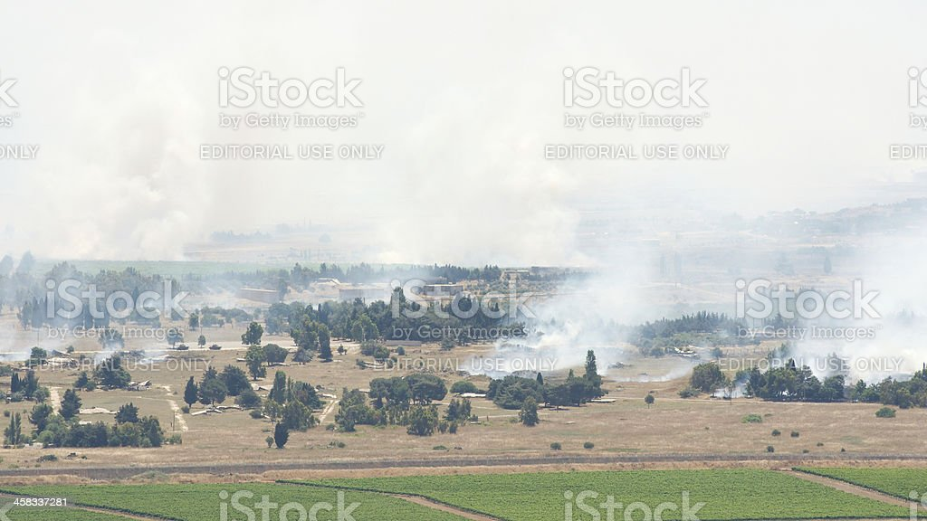 After artillery fire in Syria Al Qunaytirah on Golan Heights stock photo