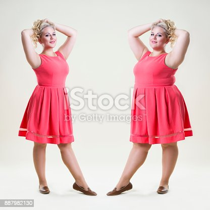 521792753 istock photo After before loss weight concept, happy plus size fashion model, sexy fat and slim woman 887982130
