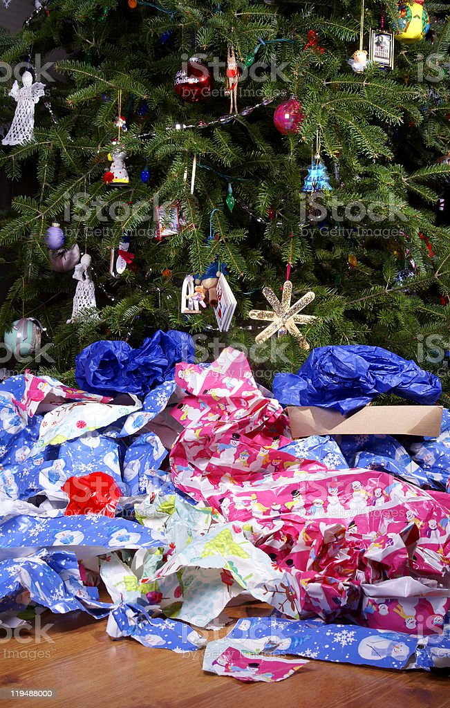 After Christmas Mess stock photo