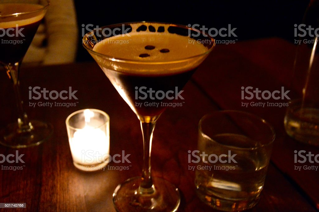 After dinner cocktail - espresso expresso coffee martini cocktail stock photo