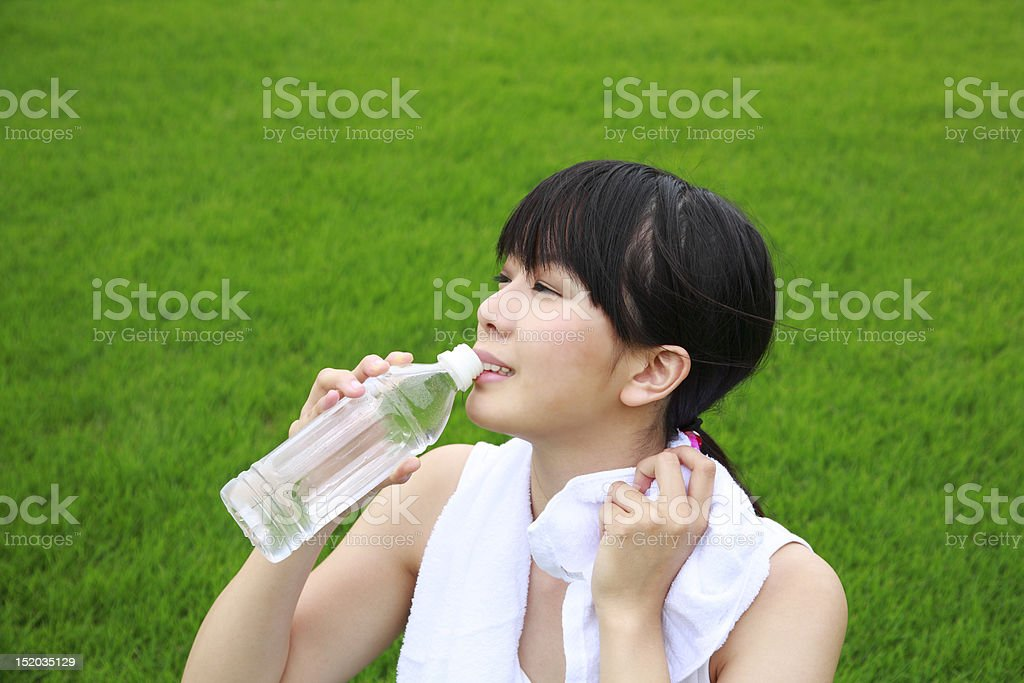 After exercise, women are relaxed royalty-free stock photo