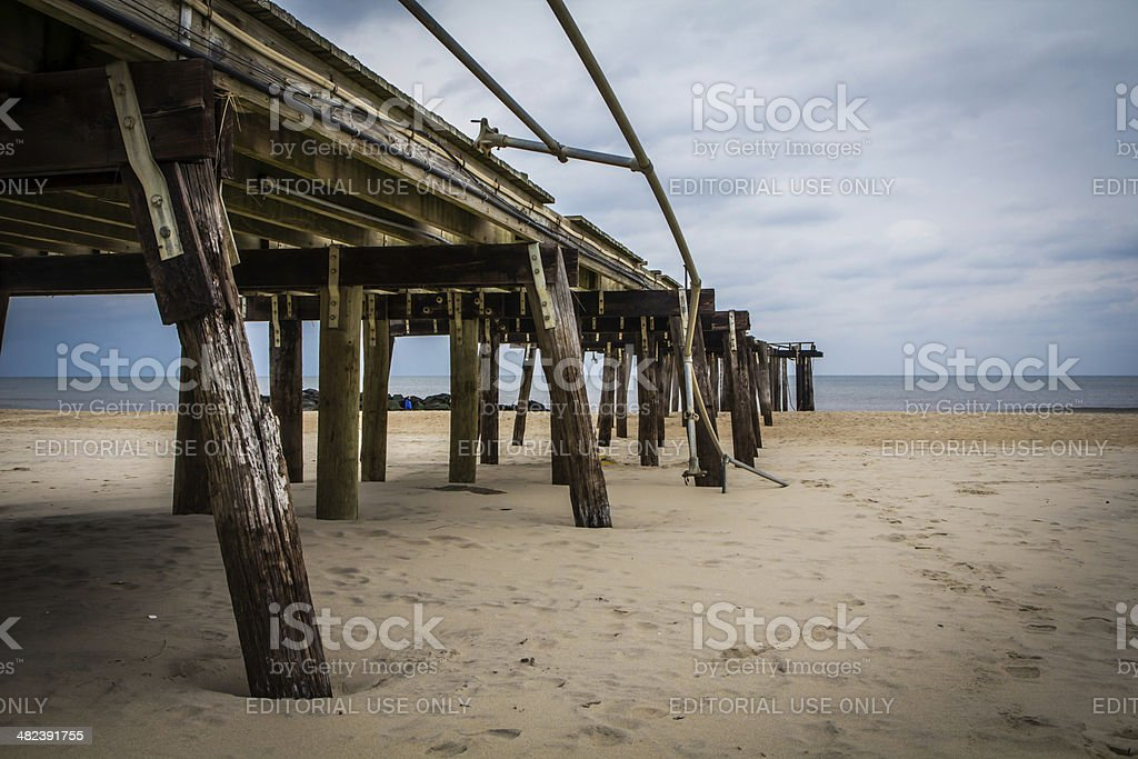 After Hurricane Sandy: Ocean Grove, New Jersey Fishing Pier stock photo