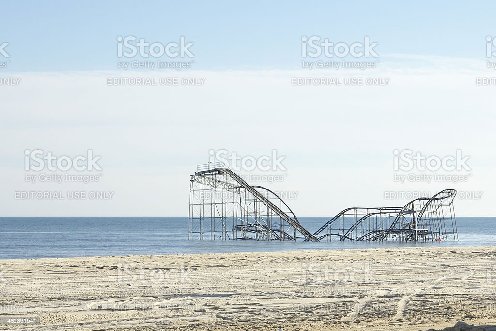 After Hurricane Sandy:  Seaside Heights, New Jersey Roller Coast stock photo