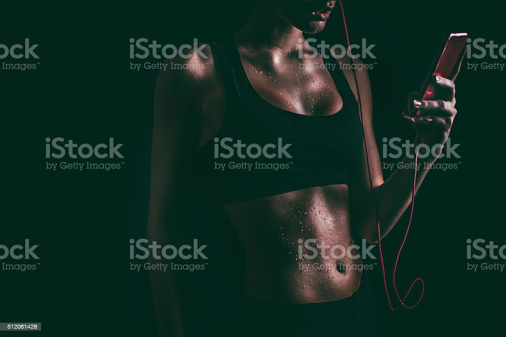 After intense workout stock photo