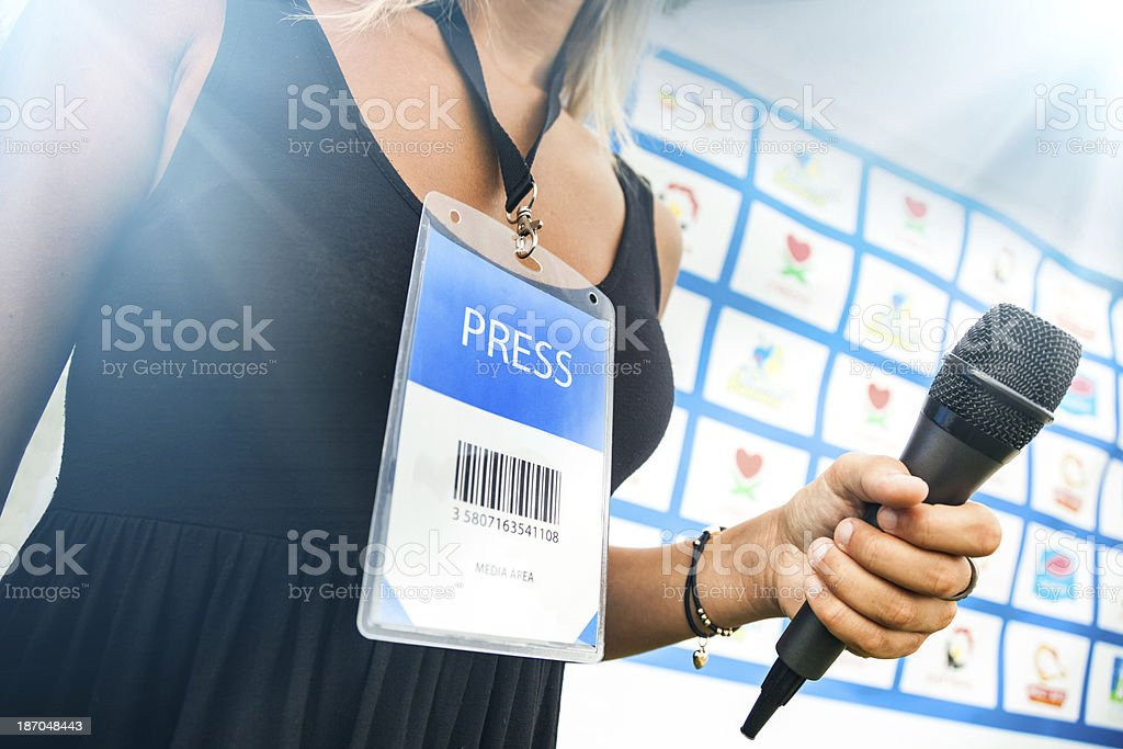 After match interviews stock photo