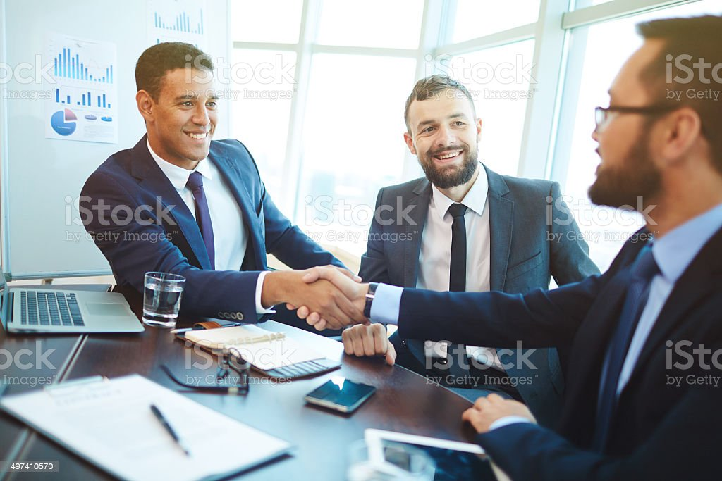 After negotiation stock photo