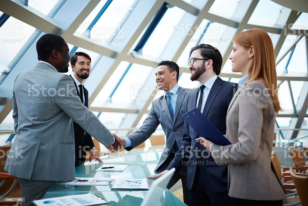 After negotiations stock photo