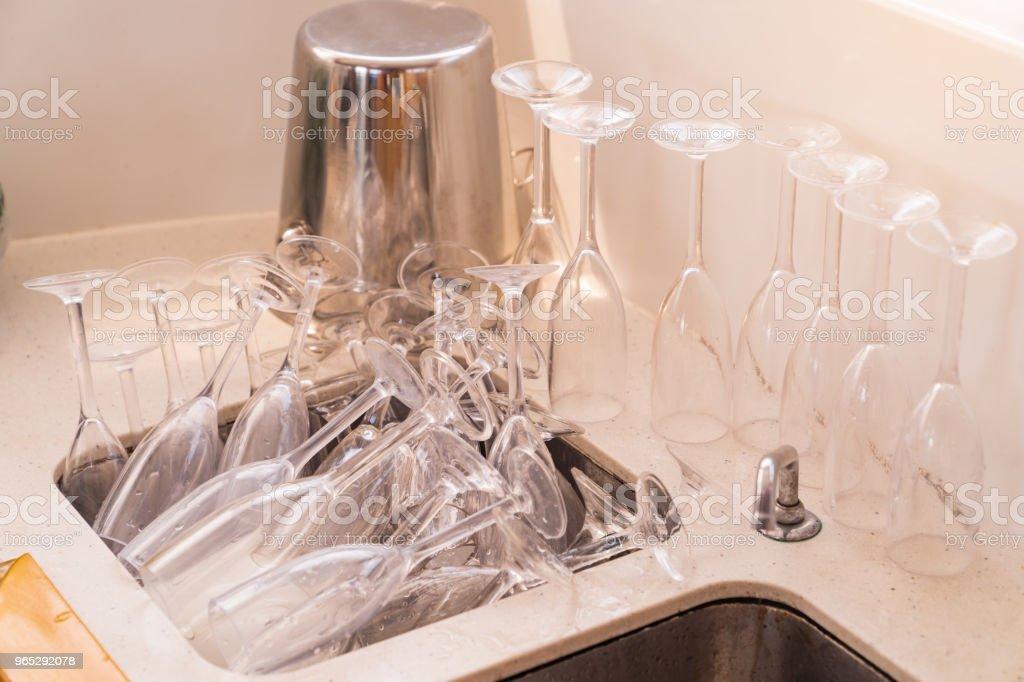 After party in luxury yacht with mamy wine glass in sink. zbiór zdjęć royalty-free