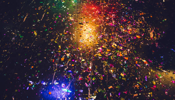 After party Messy floor after amazing New year's eve party. celebration event stock pictures, royalty-free photos & images