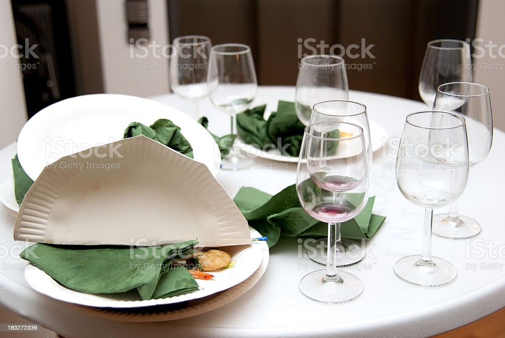After Party trash on table stock photo