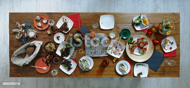 istock After party. Wasted food on wooden served festive table 866589018