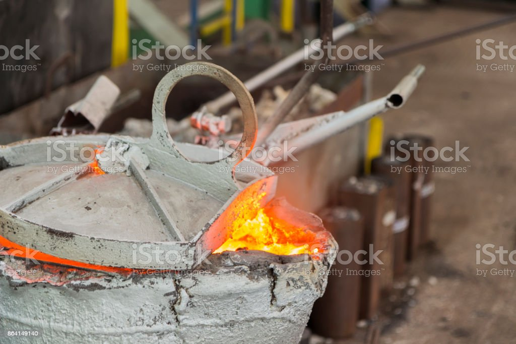 After pouring metal ladle for royalty-free stock photo
