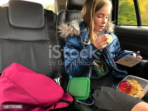 Little girl snacking on fruit and crisps in the back of a car.