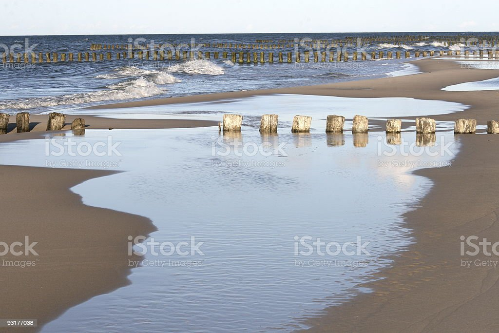 after storm, polish wide beach royalty-free stock photo