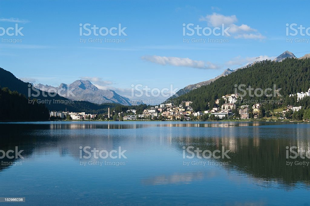 After sunrise at the lake St. Moritz royalty-free stock photo