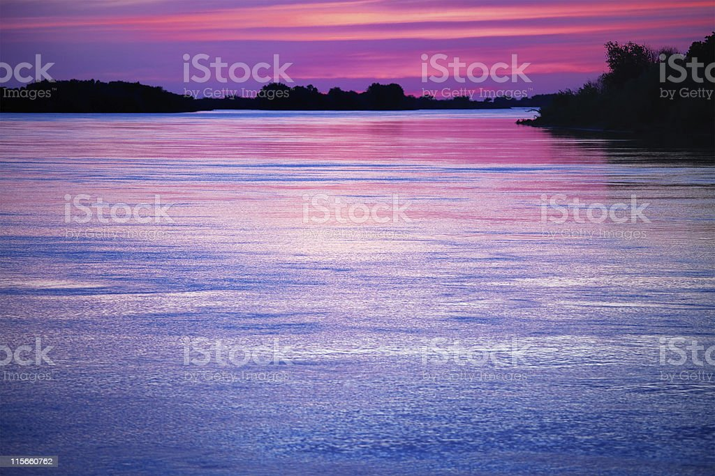 After sunset on river stock photo