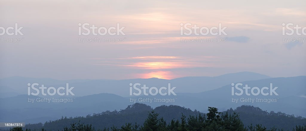 After Sunset On The Blue Ridge Mountains - Panorama royalty-free stock photo