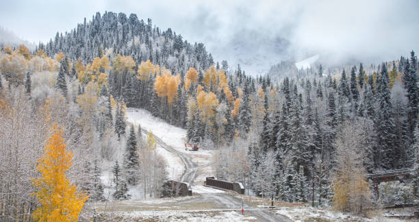 After the first snow over the mountain stock photo