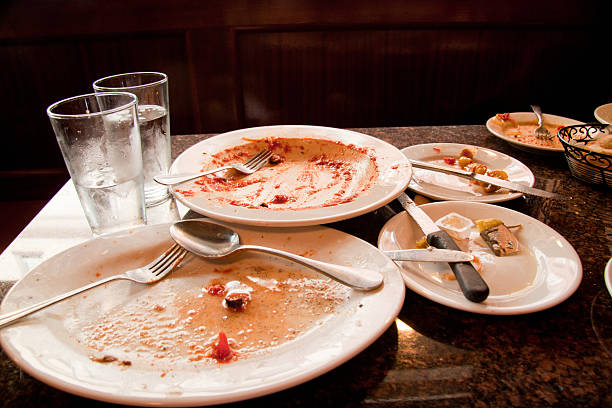 after the meal - tallrik uppätet bildbanksfoton och bilder