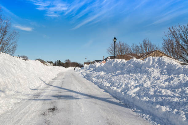 after the storm - snow pile stock photos and pictures