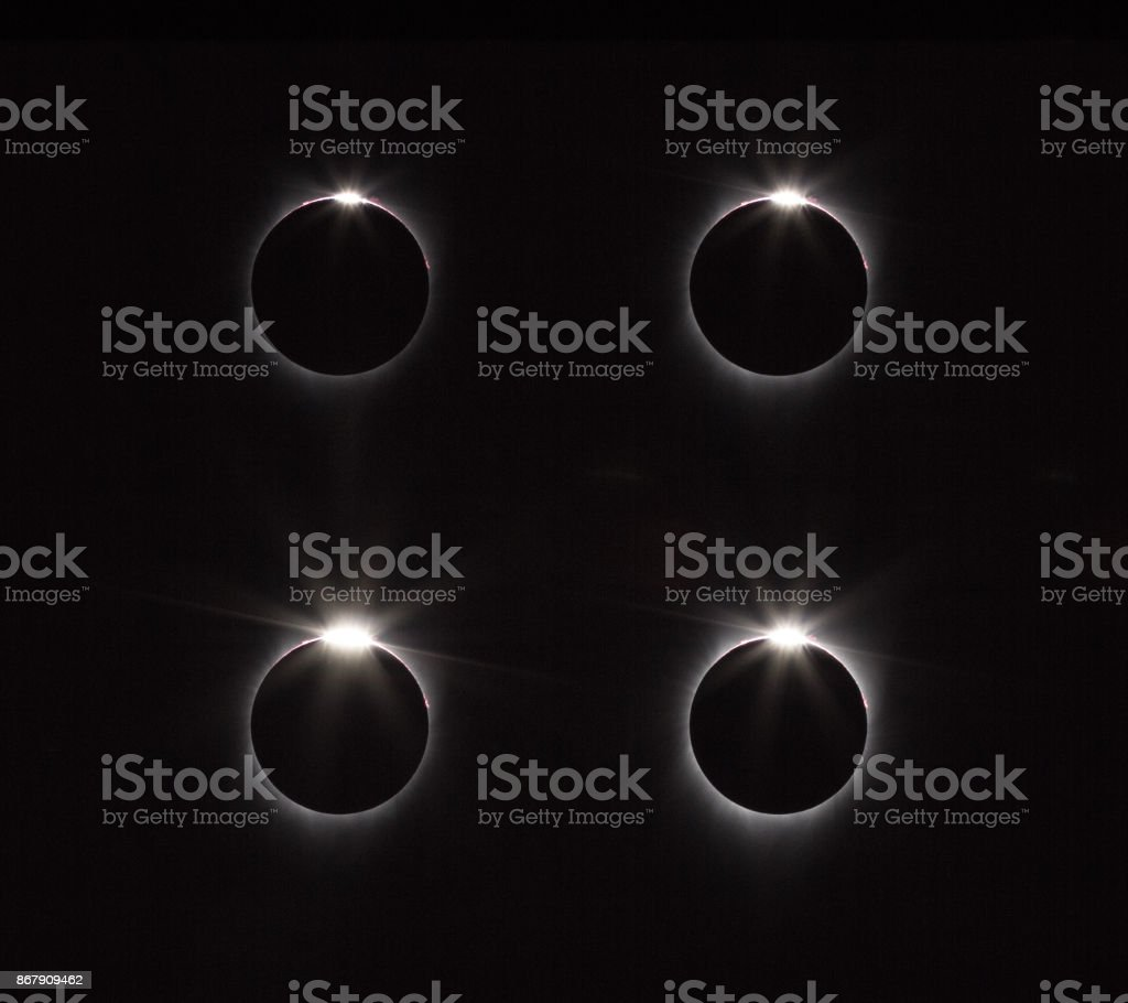 After totality the diamond ring reappears on solar eclipse stock photo