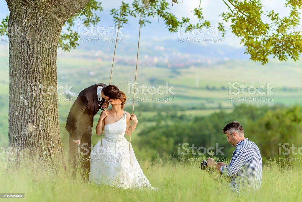 after wedding photo shoot stock photo