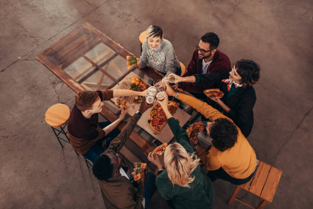 After Work Drinks In Craft Brewery stock photo