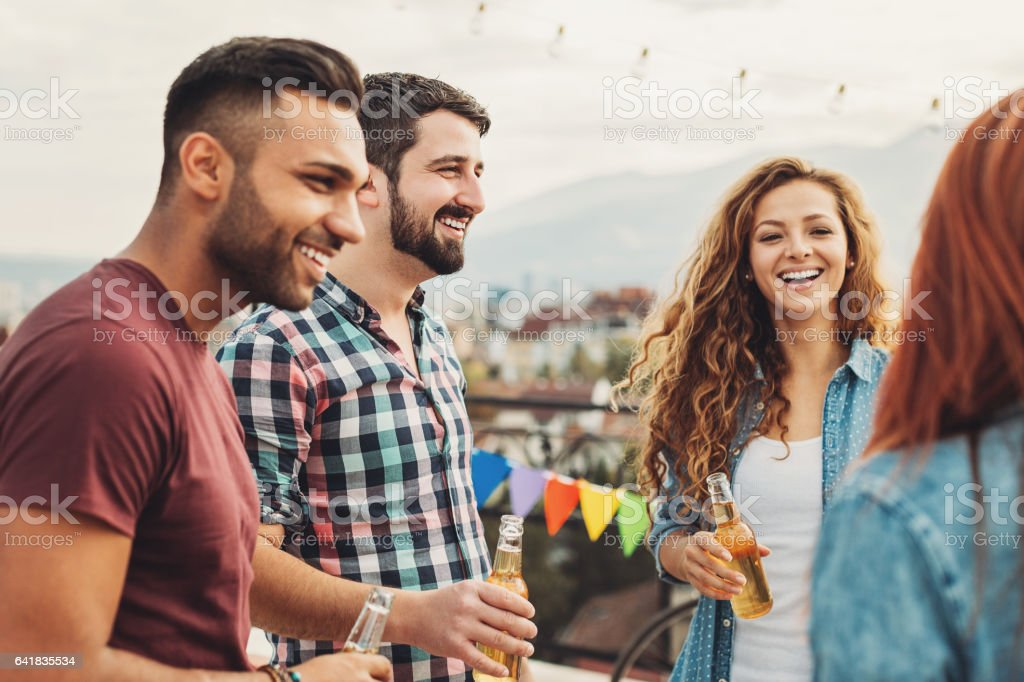 After work party on the rooftop stock photo