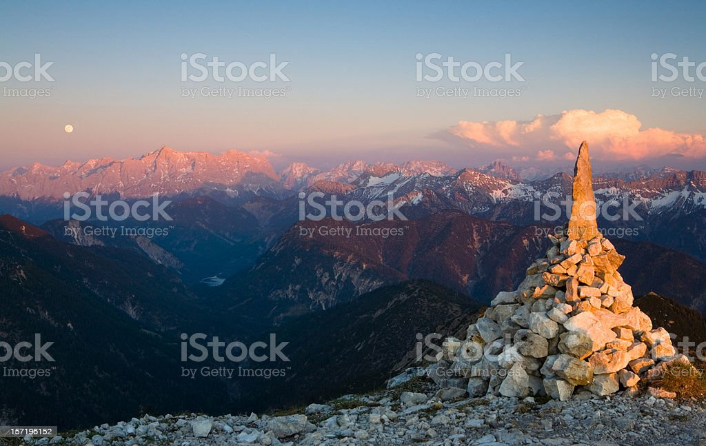afterglow at mt zugspitz stock photo