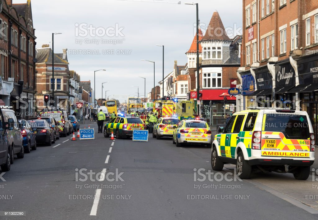 Aftermath of an accident in Bournemouth, Dorset. UK stock photo