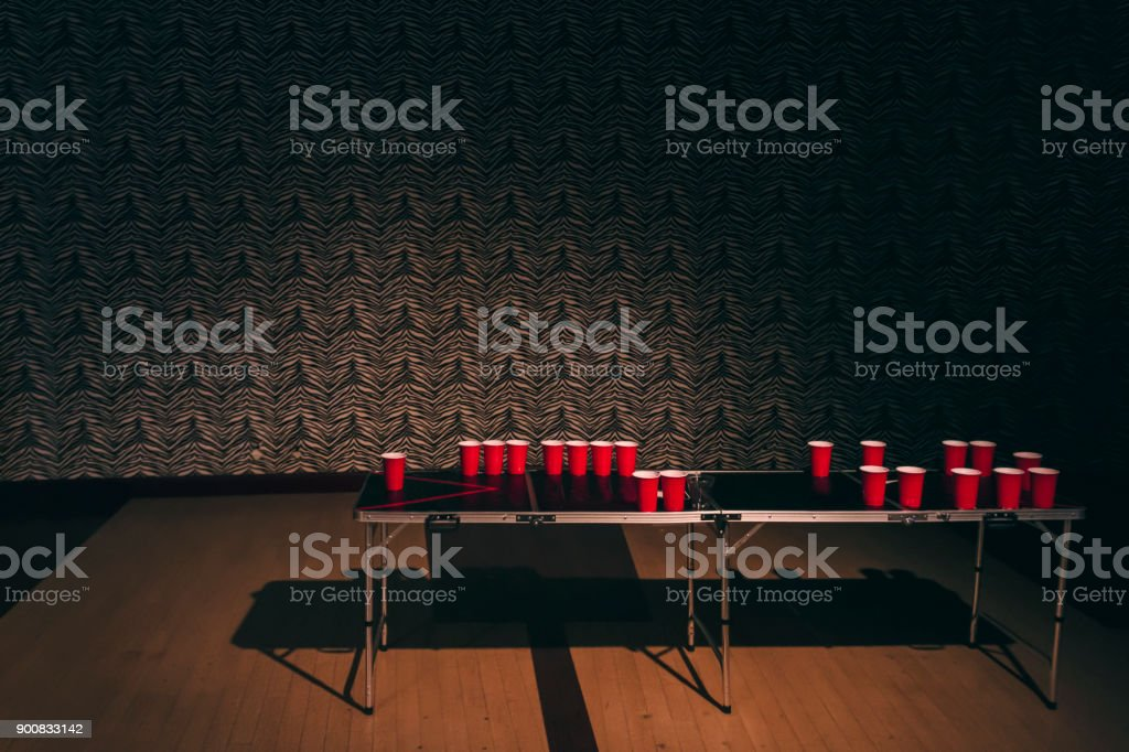 Aftermath of beer pong stock photo