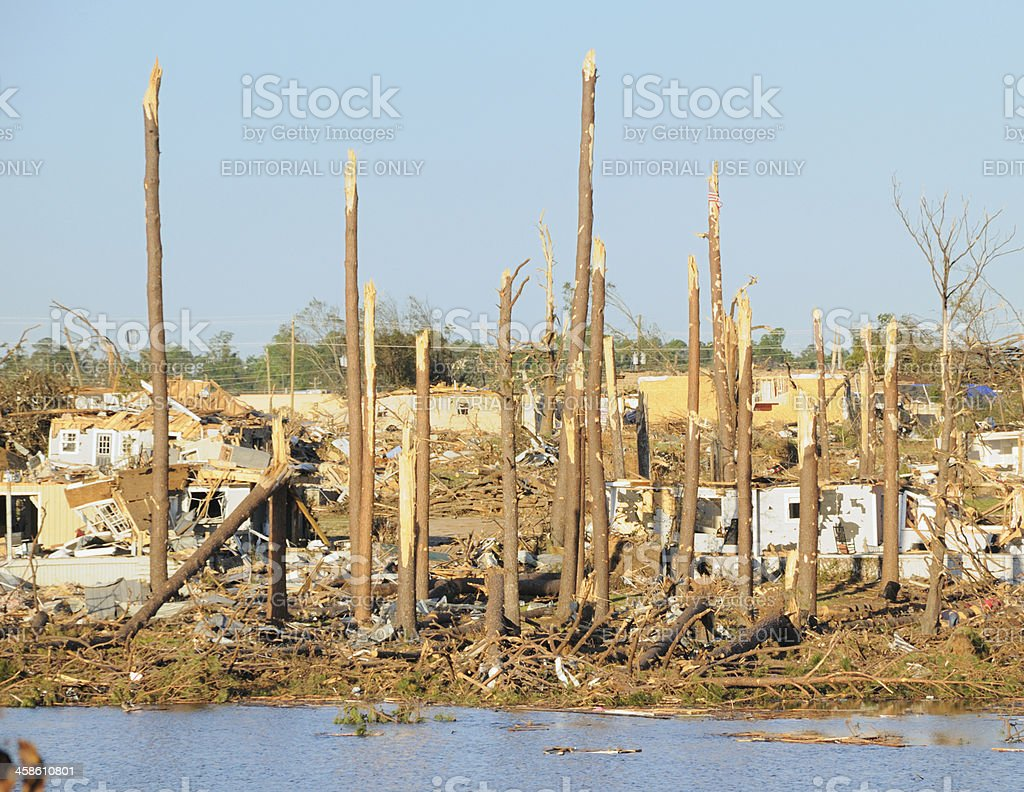 Aftermath of tornado damage stock photo