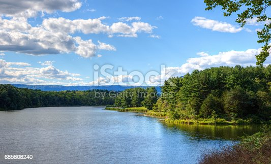 A bright summer day at Opossum Lake in Pennsylvania.