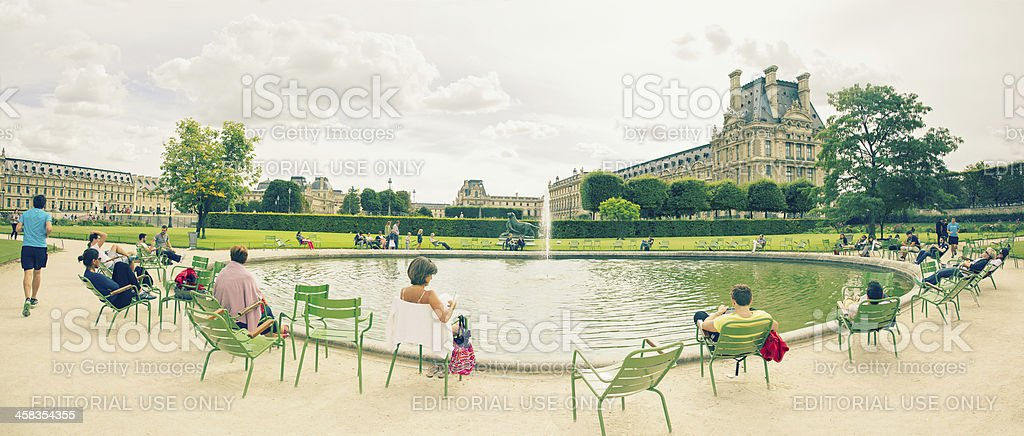 Afternoon at the Tuileries Garden Paris Panorama stock photo