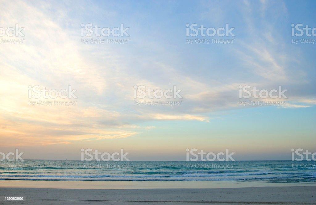 afternoon beach scene with big sky stock photo