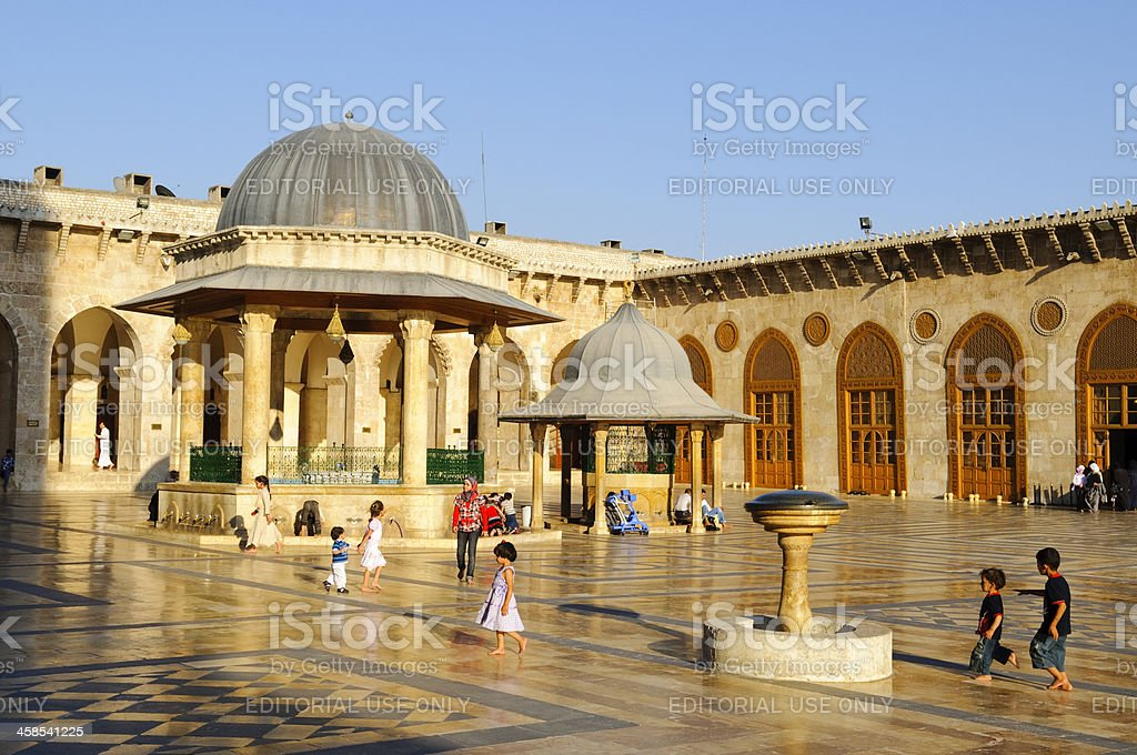 Afternoon beauty at the Umayyad Mosque in Aleppo, Syria stock photo