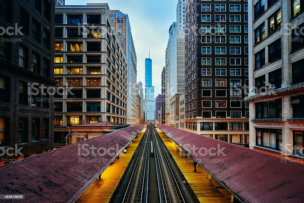 Afternoon Chicago L Tracks stock photo