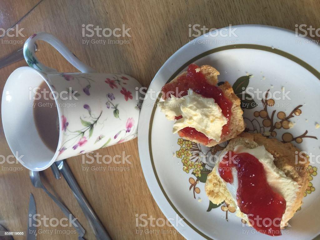 Afternoon Cream Tea: Devon or Cornwall Style? stock photo
