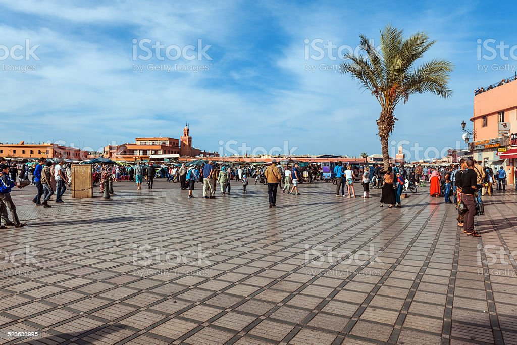 Afternoon Djemaa El Fna Square e, Marrakech, Morocco stock photo