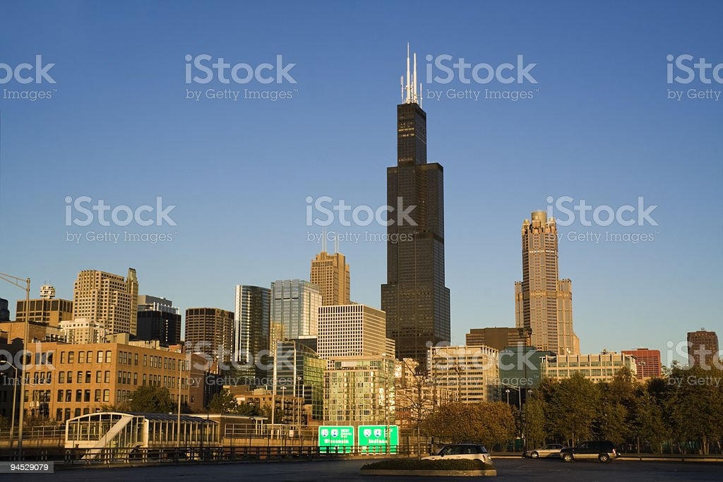Afternoon Light in downtown Chicago stock photo