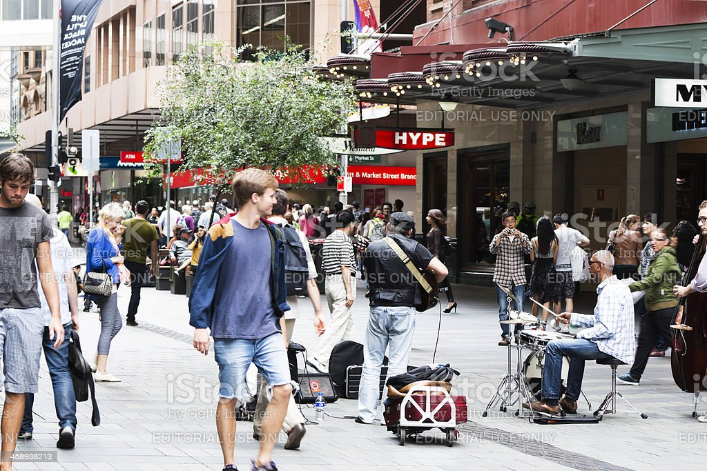 Afternoon on Pitt Street with crowd of people stock photo